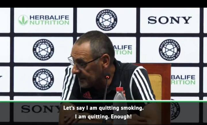 Maurizio Sarri manager of juventus Says He Is Quitting Smoking